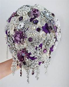 Cascading Brooch Bouquet. Purple And Silver Wedding Brooch ...