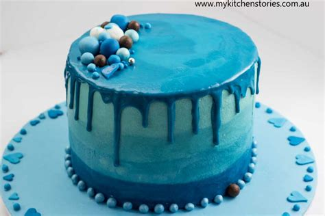 baby birthday dress blue ombre cake chocolate layers my kitchen stories