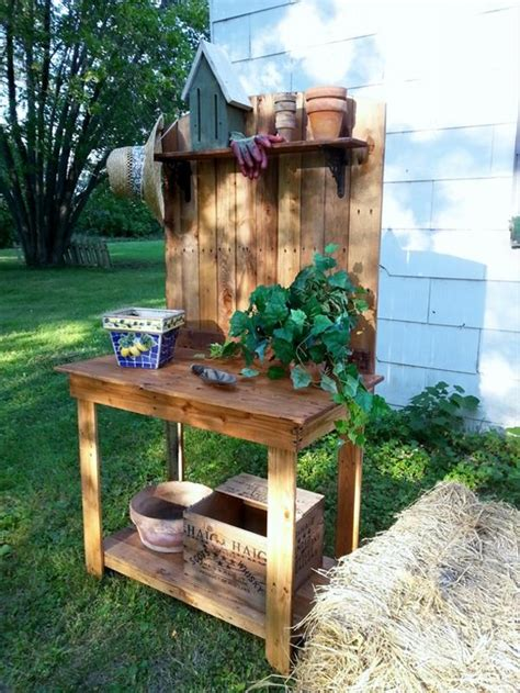 wood pallet potting benches pallet ideas