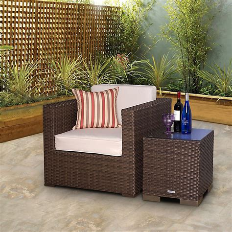 atlantic bermuda brown synthetic wicker patio seating set with white cushions