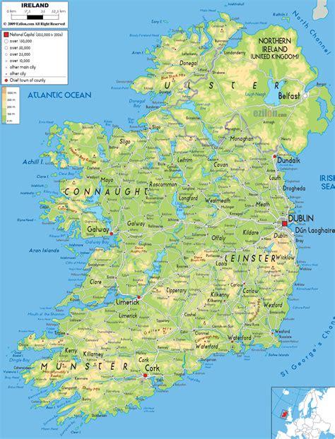 physical map  ireland ezilon maps