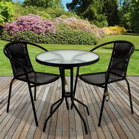 Garden Table Chairs by Black Rattan Bistro Sets Table Chair Patio Garden Outdoor