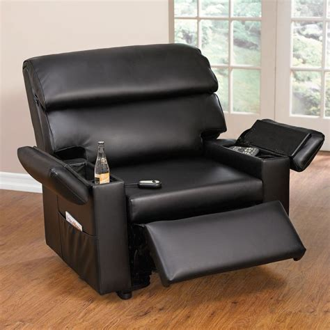 wide leather look power lift chair with storage arms