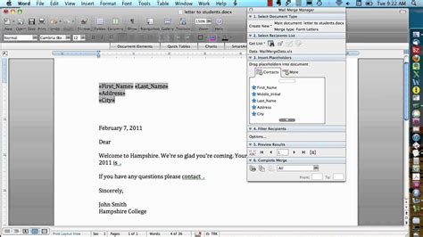 mail merge  mac form letters youtube