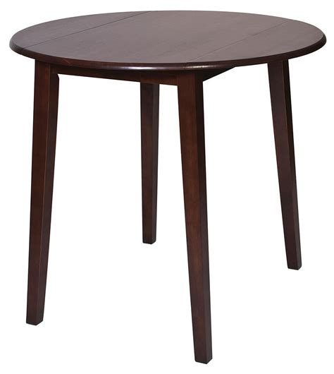high top drop leaf table amaretto finish wood 36 quot high round dining bistro pub