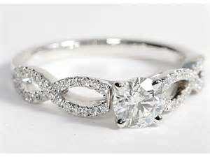 infinity twist engagement ring infinity twist micropave engagement ring 14k white gold pricescope