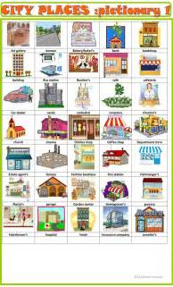 city places pictionary  english esl worksheets