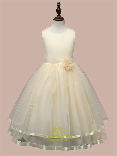 light yellow sleeveless ball gown flower girl dress