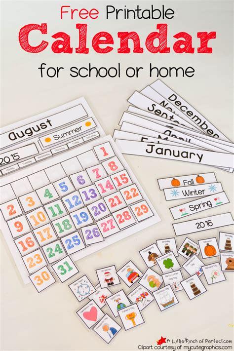 printable interactive preschool calendar