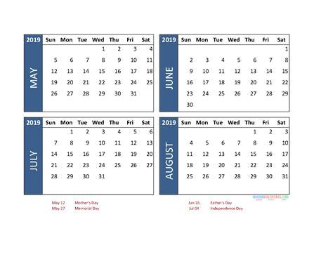 printable  month calendar   june july august