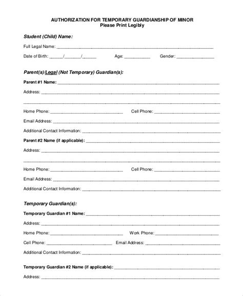 temporary guardianship form free download the best