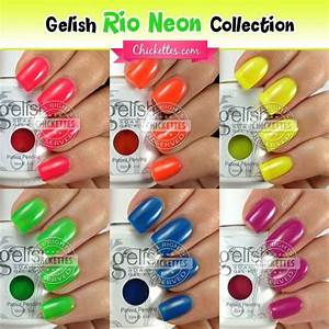Cnd Shellac Colour Chart Gelish Rio Neon Collection Swatches Chickettes Natural