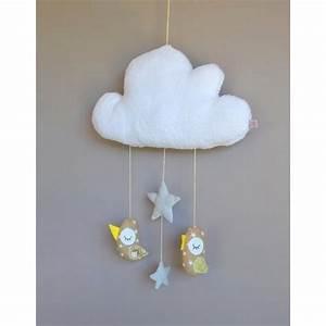 Mobile Pour Bébé : mobile fait main avec des oiseaux suspendus un nuage pour d corer la chambre de b b avec ~ Teatrodelosmanantiales.com Idées de Décoration