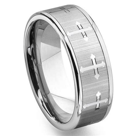 tungsten carbide mens wedding band ring  cross design