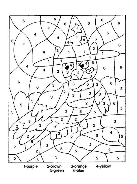 owl color  number coloring picture color  number
