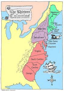 13 Thirteen Colonies Map