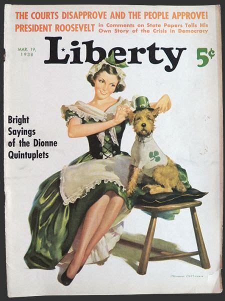 shamrock magazine 1938 liberty magazine cover st patrick s day irish woman dog vintage magazine covers