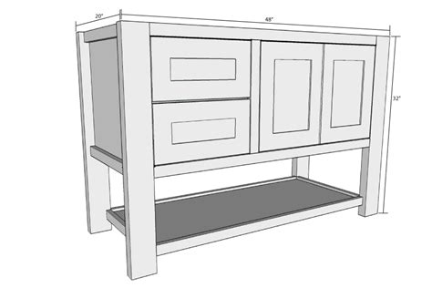 Mission Style Open Shelf Bathroom Vanity-buildsomething.com
