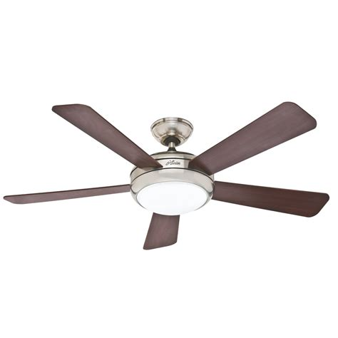 lowes ceiling fans with led lights shop hunter palermo 52 in brushed nickel downrod or flush