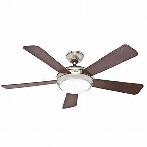 Hunter palermo in brushed nickel downrod or flush mount ceiling fan with led light kit