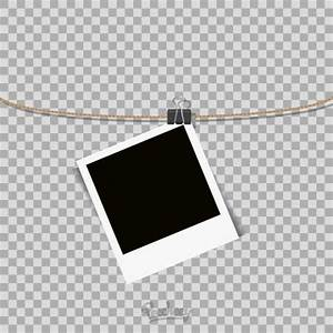 template for hanging pictures - polaroid frame hanging on the rope on transparent