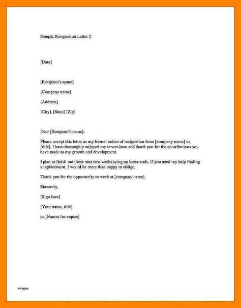 formal letter  resignation examples resignition letter
