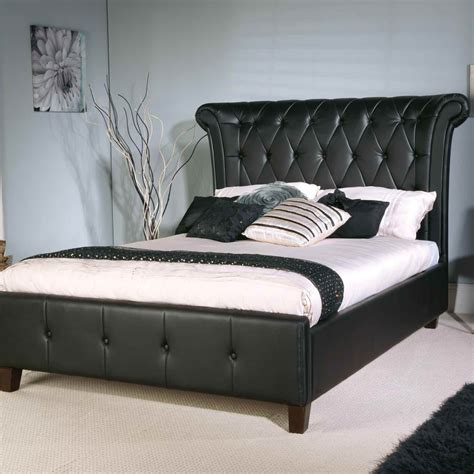 black leather headboard bed limelight epsilon black faux leather bed
