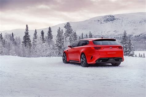 Red, Snow, Side View, Sports Car, Driving, Kia