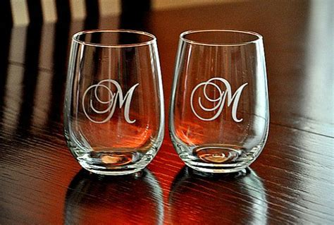 Etched Stemless Wine Glasses Monogrammed Host Hostess Gift