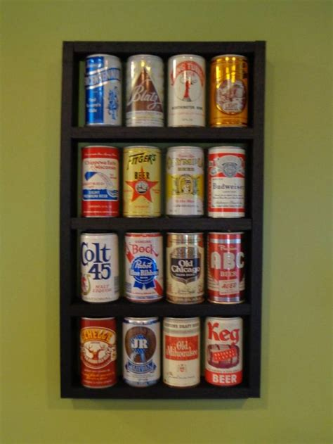 beer  wood display shelf cans  included shelves