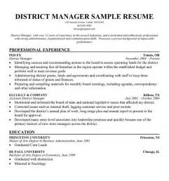 resume objectives for retail district manager sle resume february 2015