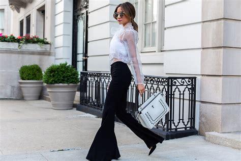 jessi malay lurelly sheer lace blouse zara flared