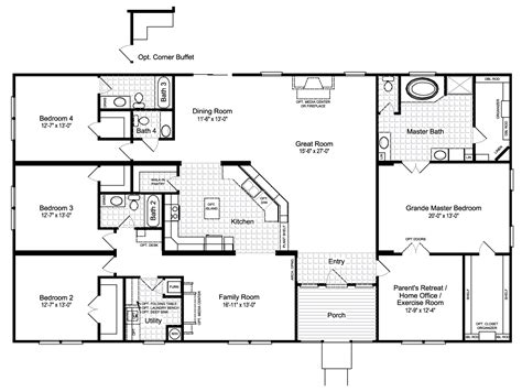floor master house plans the hacienda iii 41764a manufactured home floor plan or