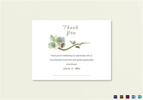 thank you card template indesign fall wedding thank you card template in psd word