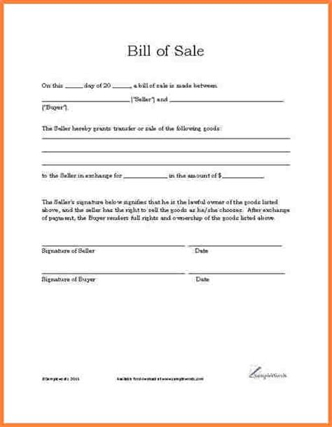 Bill Of Sale Template Word 7 Free Bill Of Sale Template Microsoft Word Letter Bills