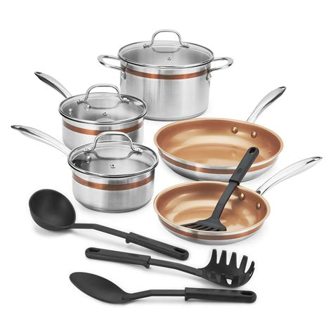 crux  piece stainless steel cookware set  copper accent ring  walmartcom