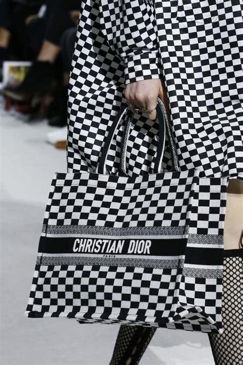 dior blackwhite checkered tote bag spring  christian dior handbags dior handbags bags
