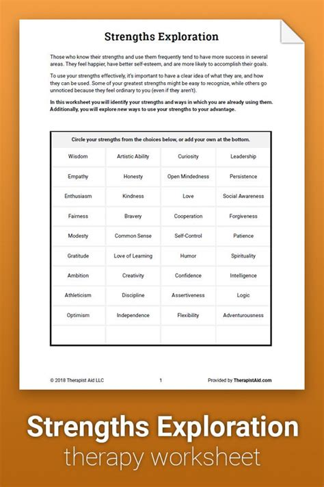 strengths exploration worksheet therapy worksheets