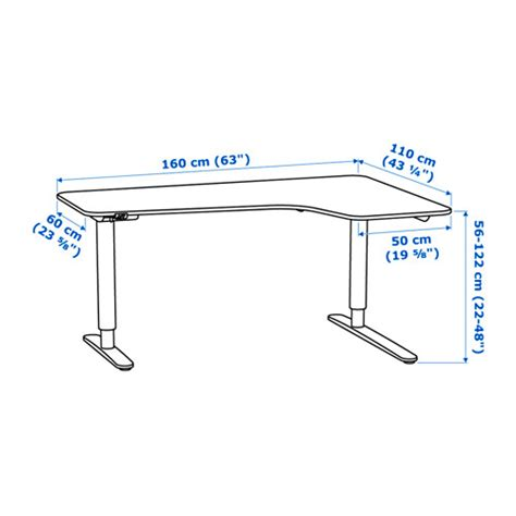 exact measurements of bekant ikea