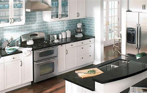 ikea kitchen backsplash white cabinets black countertop blue backsplash