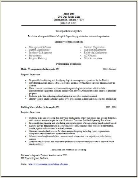 transportation logistics resume occupational exles