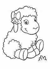 Sheep Coloring Pages Adorable Lambs Drawing Coloringsky Printable Paper Animal Animals sketch template