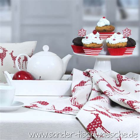 sander tischwäsche weihnachten weihnachtliche cupcakes lecker tischw 228 sche rudolph mit rentieren sander weihnachten