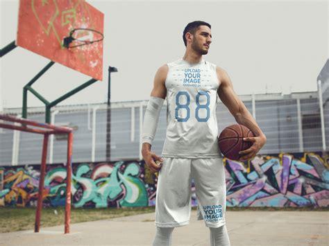 placeit basketball jersey maker young tall man