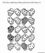 Coloring Mitten Winter Pages Preschool Printable Mittens Kindergarten Scarf Printables Clipart Worksheets Clothes Match для Preschoolers Craft Library Adults Zima sketch template