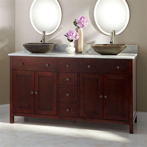 double vessel sink vanity 72 quot clinton double vanity with makeup area cherry