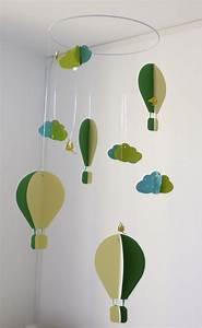 Mobile Bébé Nuage : mobile b b origami papier suspension en spirale chambre b b montgolfi re oiseau nuage vert ~ Teatrodelosmanantiales.com Idées de Décoration