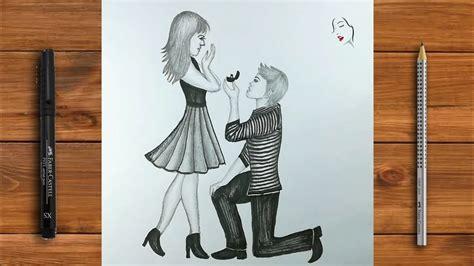 draw  romantic couple step  step love proposal