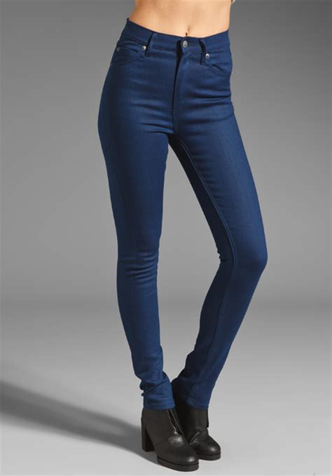 Buy Cheap Sofas by Cheap Monday Second Skin Jeans In Poly Indigo Blue At
