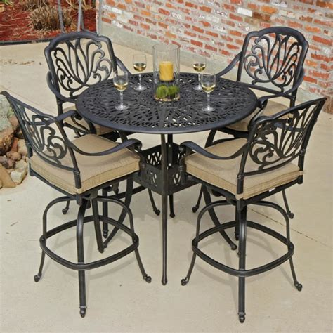 rosedown 4 person cast aluminum patio bar set modern